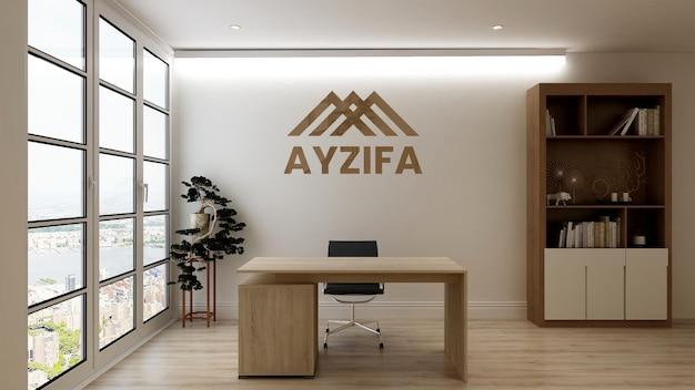 Maqueta del logotipo de oficina 3d plateado en un elegante espacio de trabajo interior de negocios
