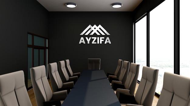 Maqueta de logotipo en la oficina de la sala de reuniones