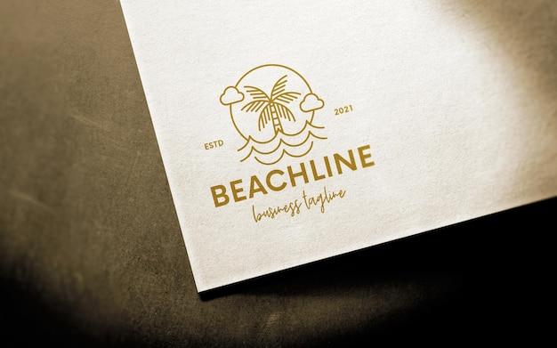Maqueta de logotipo de papel clásico de perspectiva
