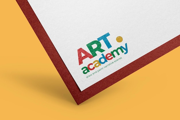 Maqueta de logotipo en papel psd, diseño colorido realista
