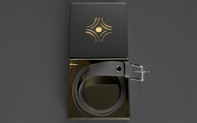 Maqueta de logotipo en paquete de cinturón de cuero