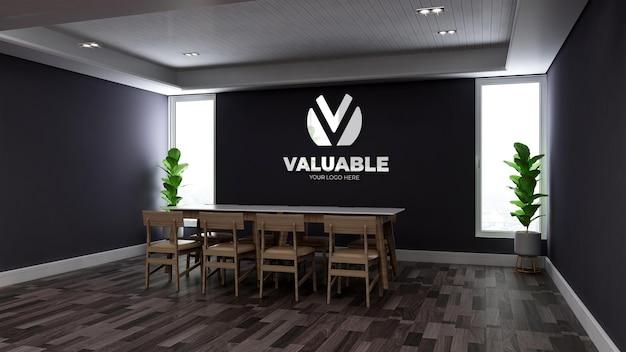 Maqueta de logotipo de pared 3d realista en la sala de reuniones de oficina de madera minimalista
