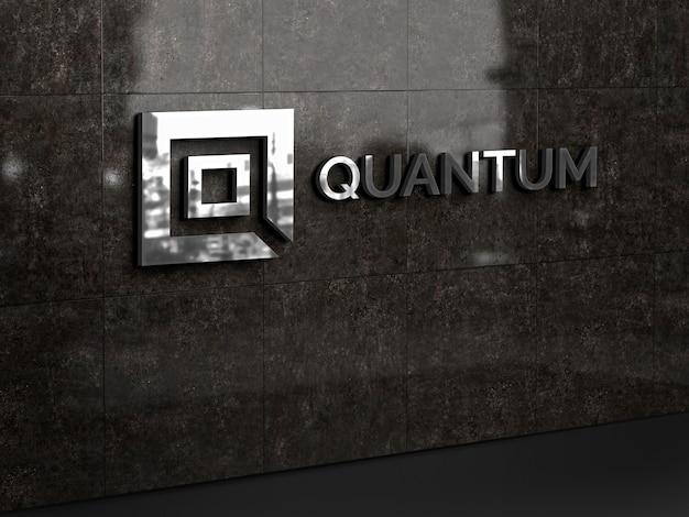 Maqueta de logotipo de pared 3d