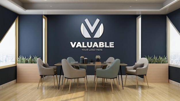 Maqueta de logotipo de pared azul de sala de reuniones moderna y de lujo