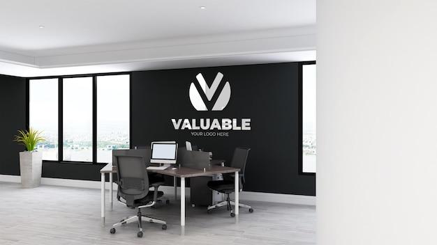 Maqueta del logotipo de la pared del espacio de trabajo de la oficina