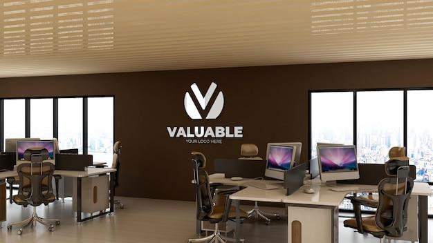 Maqueta del logotipo de la pared del espacio de trabajo de la sala de oficina