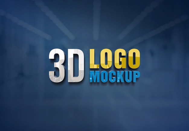 Maqueta de logotipo de pared, maqueta de logotipo de señal de pared de vidrio de oficina gratuita, maqueta de logotipo de sala de vidrio de oficina