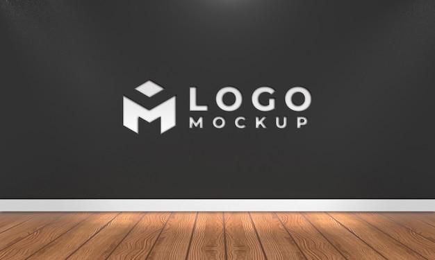 Maqueta de logotipo de pared negra 3d