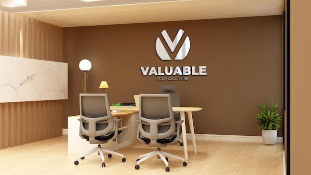 Maqueta de logotipo de pared de sala de gerente de oficina