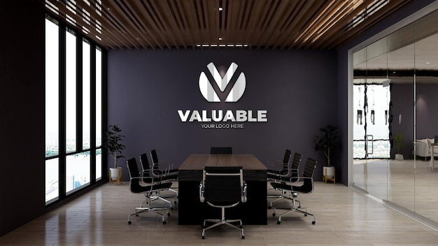 Maqueta de logotipo de pared de sala de reuniones de diseño moderno