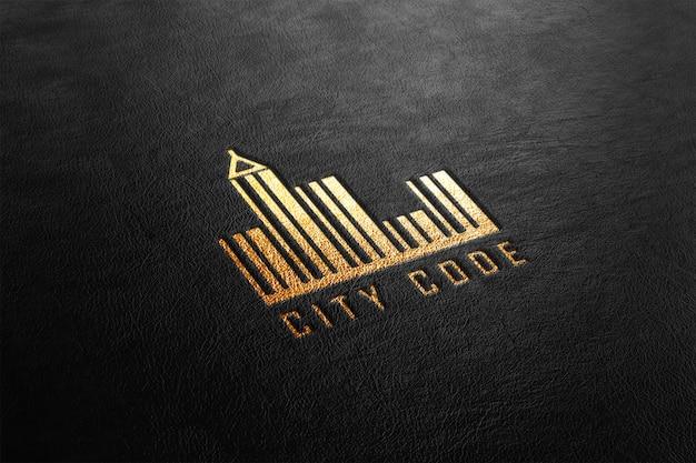 Maqueta de logotipo perforado de cuero dorado de lujo