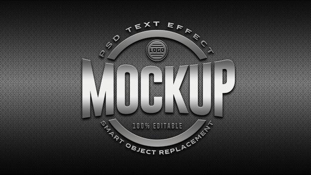 Maqueta de logotipo plateado 3d