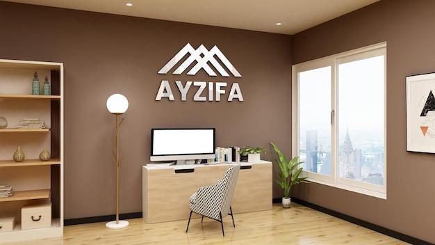 Maqueta de logotipo plateado en la sala de gerente de oficina clásica