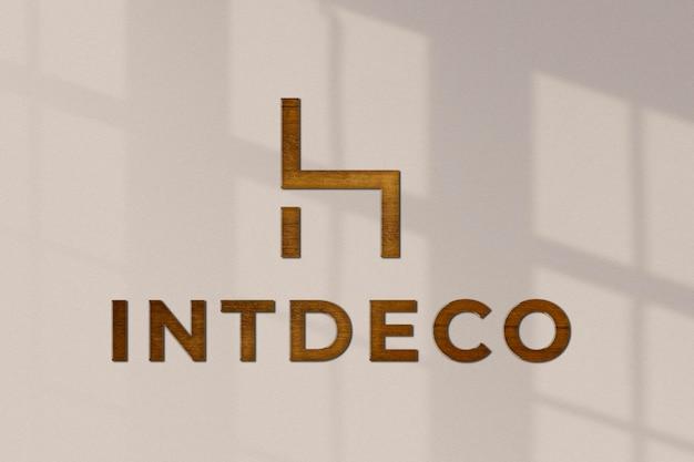Maqueta de logotipo psd moderno, diseño realista de pared