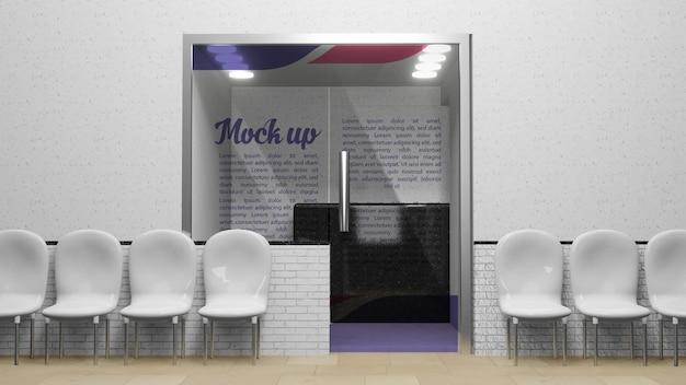 Maqueta de logotipo de puerta de vidrio o recepción.