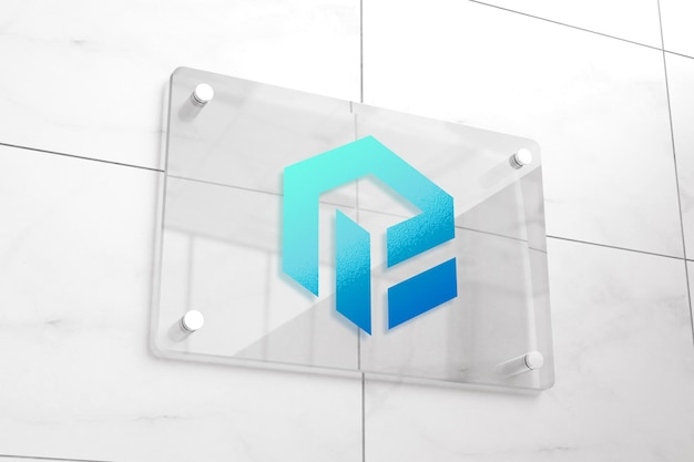 Maqueta de logotipo realista en señalización de vidrio.
