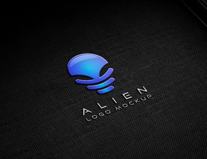 Maqueta de logotipo en relieve metálico
