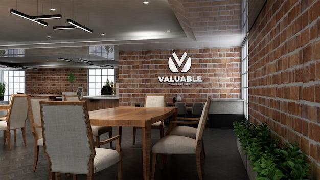 Maqueta de logotipo de restaurante realista con pared de ladrillo