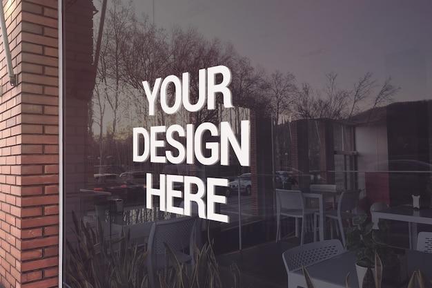 Maqueta de logotipo de restaurante de vidrio