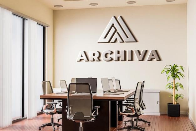 Maqueta de logotipo para sala de reuniones con pared blanca modelo 3d