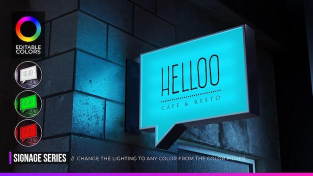 Maqueta de logotipo de señalización de burbuja de discurso rectangular en fachada o cafetería de escaparate