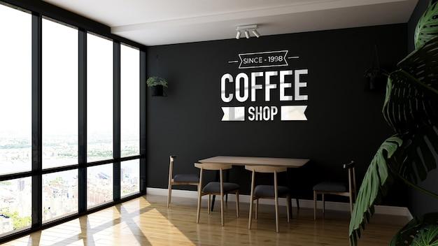Maqueta de logotipo en señalización de pared de cafetería.