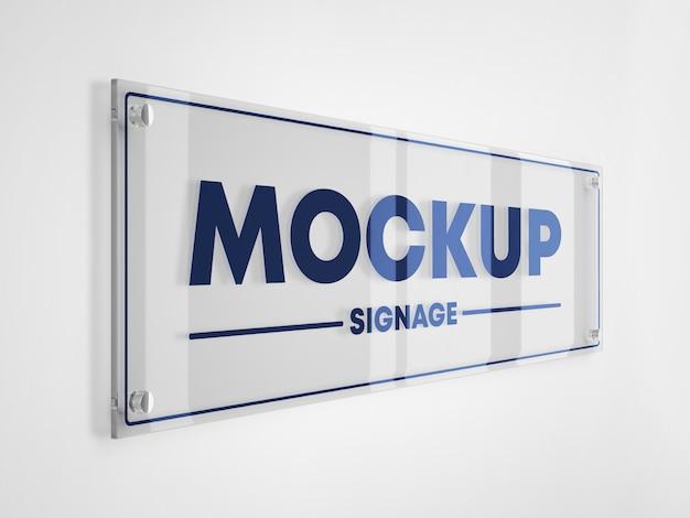 Maqueta de logotipo de señalización de vidrio