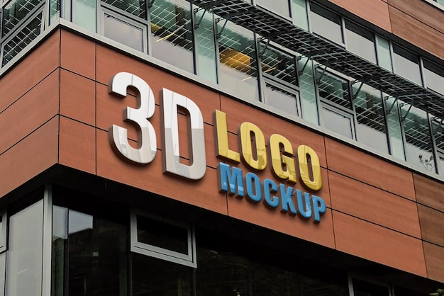 Maqueta de logotipo de signo 3d de escaparate