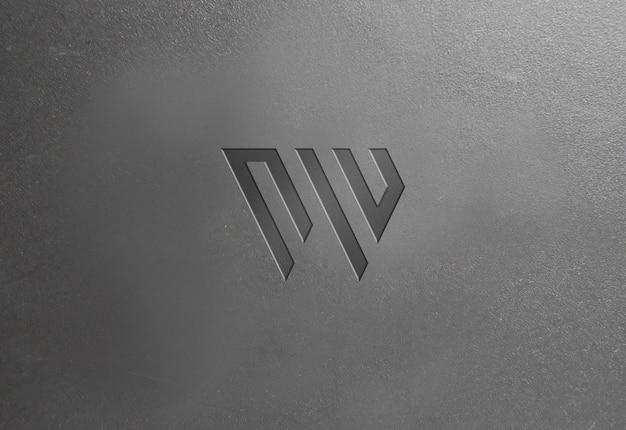 Maqueta de logotipo de textura de plástico oscuro