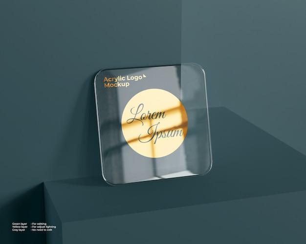 Maqueta de logotipo de vidrio acrílico forma cuadrada