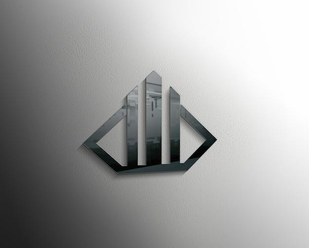 Maqueta de logotipo de vidrio realista 3d moderna