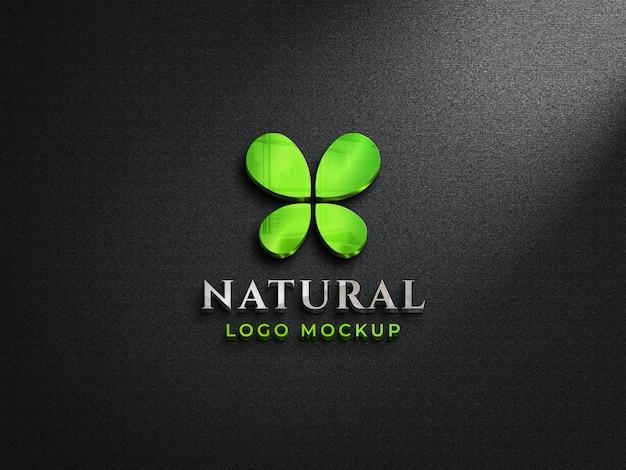 Maqueta de logotipo de vidrio reflectante 3d en pared oscura maqueta de logotipo colorido 3d