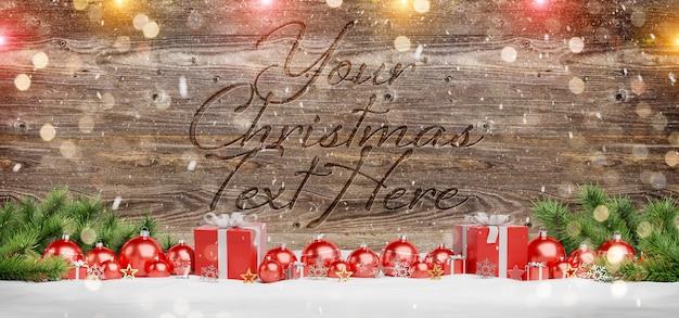 Maqueta de madera con adornos navideños