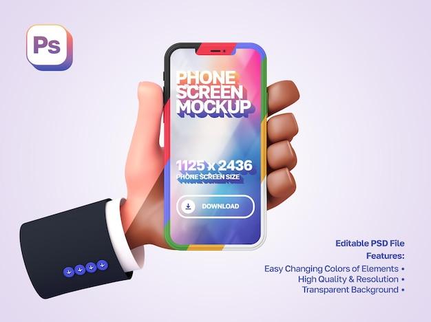 Maqueta de mano de dibujos animados en 3d con manga mostrando y sosteniendo el teléfono a la izquierda en orientación vertical