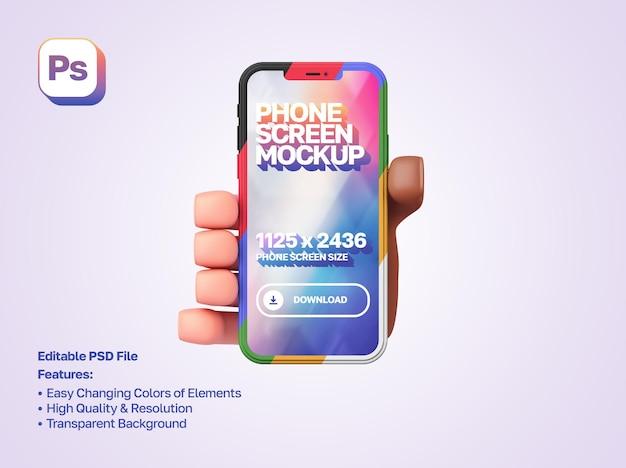 Maqueta de mano de dibujos animados en 3d sosteniendo y mostrando el teléfono inteligente en orientación vertical