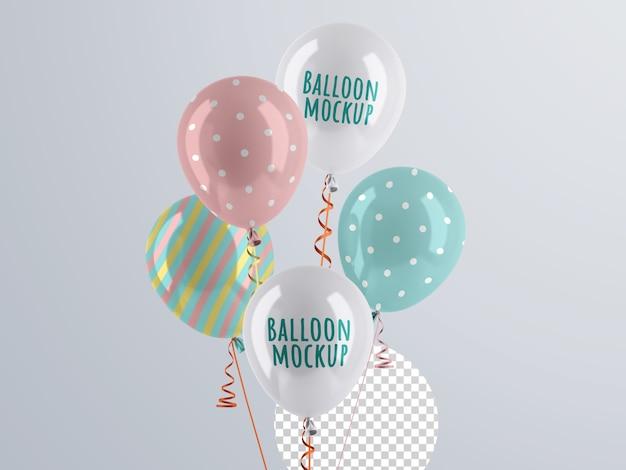 Maqueta de manojo de globos de helio