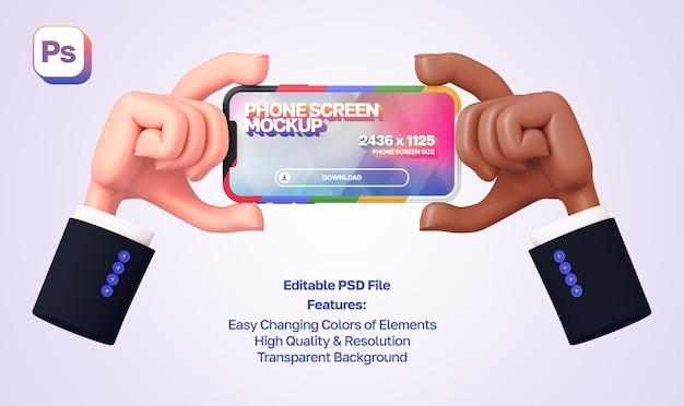 Maqueta de manos de dibujos animados en 3d con mangas mostrando y sosteniendo el teléfono en orientación horizontal