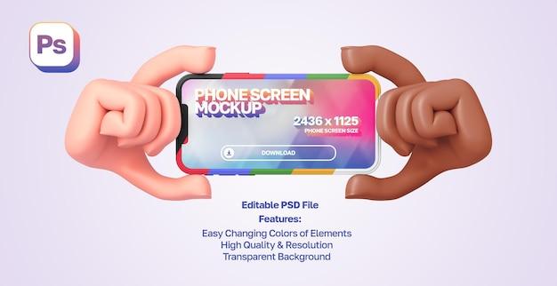 Maqueta de manos de dibujos animados en 3d que muestran y sostienen el teléfono inteligente en orientación horizontal