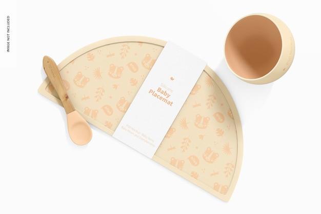 Maqueta de mantel individual de silicona para bebé, vista superior