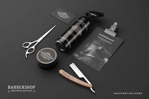Maqueta de marca de barbería en tema oscuro