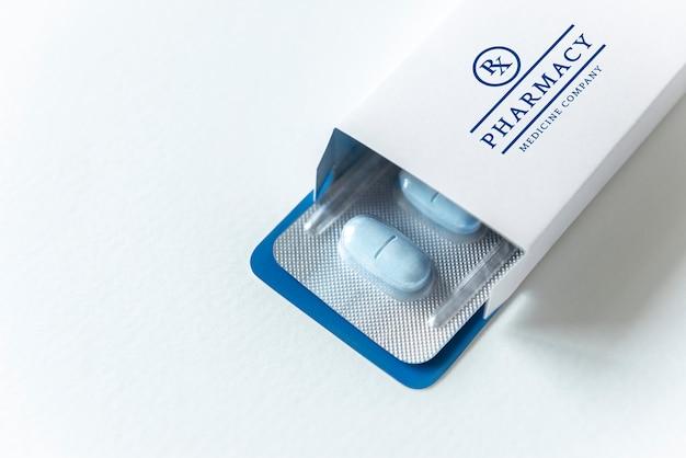 Maqueta de marca y envasado de medicamentos.