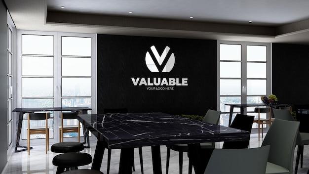 Maqueta de marca del logotipo de la empresa 3d en la despensa de la oficina moderna o el área de la cocina