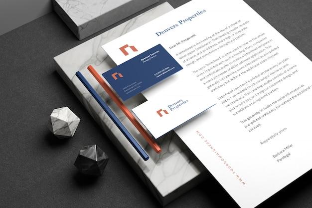 Maqueta de marca de papelería mínima