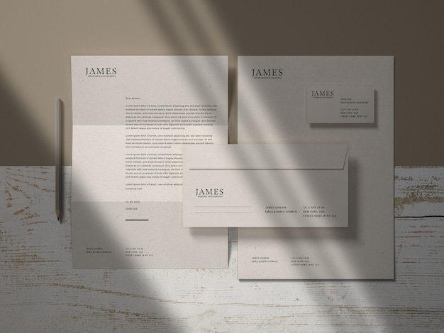 Maqueta de marca de papelería