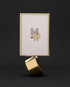 Maqueta de marco 3d negro y dorado