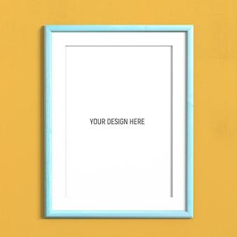 Maqueta de marco azul