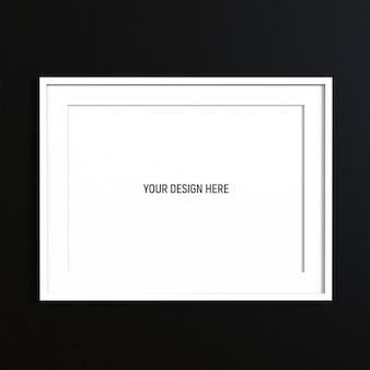 Maqueta de marco blanco horizontal en pared de textura blanca