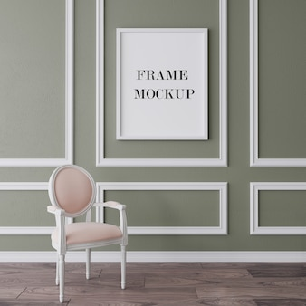 Maqueta de marco blanco en interior clásico
