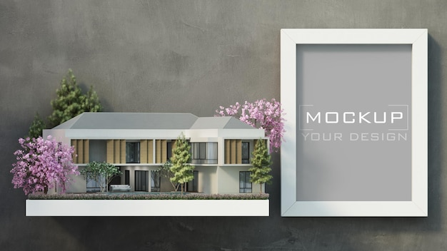 Maqueta de marco blanco en muro de hormigón con hogar moderno