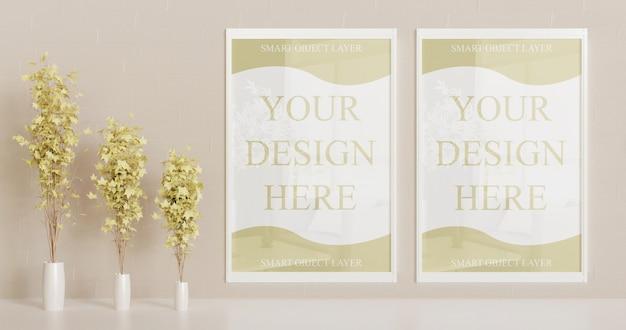 Maqueta de marco blanco en la pared con plantas decorativas